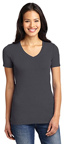 (Port Authority Ladies Concept Stretch V-Neck Tee, Grey Smoke, X-Small)
