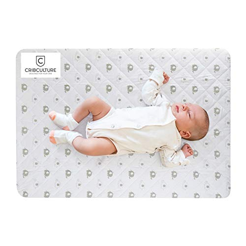 CribCulture Portable Mattress Pad Cover Protector - Elephant Pattern Designed to Fit Graco Pack N Play Mattress - Waterproof Fitted Padded Baby Playard Sheet, Play Yard Mattress Sheets for Mini Crib