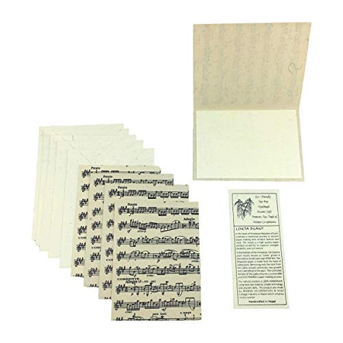 Nepal Greeting Card and Envelope Set: Sheet Music, Eco-friendly Handmade Lokta Paper