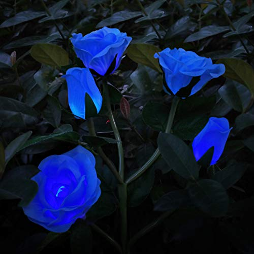 Solar Garden Flower Lights, Henlight Realistic Rose Lights with 5 Flowers, 7 Color Changing LED Solar Stake Lights, Waterproof Landscape Lighting for Outdoor, Yard, Patio, Pathway Decoration, Blue
