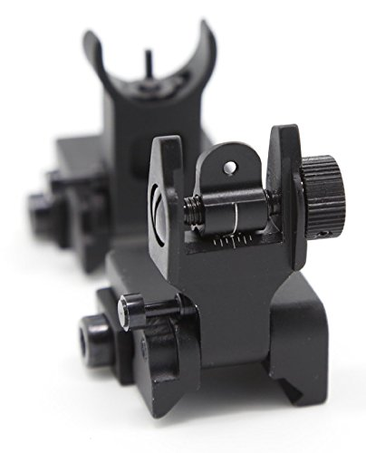 {Upgrade}Feyachi Flip Up Rear Front and Iron Sights with elevation Best Backup fits P-i-c-a-t-i-n-n-y and Weaver Rails Black