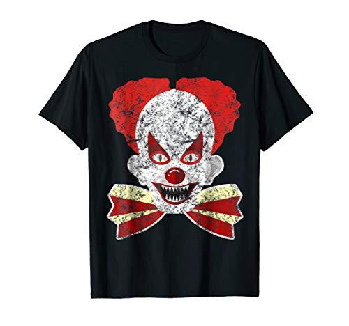 Scary Clown Costume T-Shirt Creepy Clown Mask Halloween -