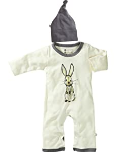 Baby Boy Easter Bunny Romper with Gray Knotted Hat (Organic Cotton)