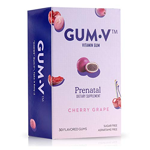 Gum-V Prenatal Vitamins, Chewable Prenatal Vitamin Gum, Prenatal Gum with Iron and Folate, Great Tasting Cherry Grape…
