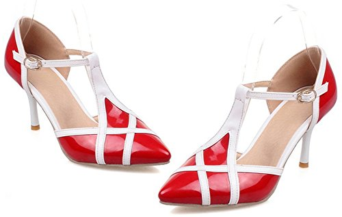 Idifu Contraste De La Moda Para Mujer Color Tacones Altos Stiletto T-strap Bombas Zapatos Rojo