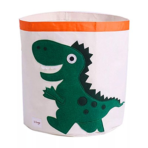 Baby Laundry Hamper Bucket,Waterproof Folding Storage Basket,or Kids Toys, Cothes,clutter (Green Dino) by ROSE CHEN