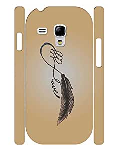 Fashionable Series Cell Phone Case With Plume And Love Quotes Print Tough Case Cover for Samsung Galaxy S3 Mini I8200 by lolosakes