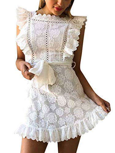 BerryGo Women's Elegant Lace Ruffle Mini Dress Sleevesless Cotton A-line Dress White (Belt Lace Belted)
