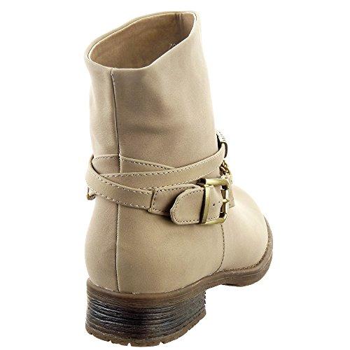 Sopily - Zapatillas de Moda Botines Biker - Motociclistas Low boots A medio muslo mujer Cadena Hebilla Talón Tacón ancho 3 CM - plantilla textil - Beige