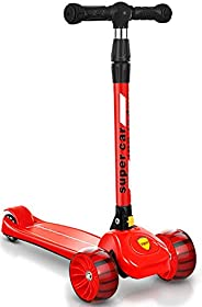 Kids Scooter Toddler Scooter 3 Wheels, Scooters for Kids with LED Flashing Wheels, 4 Adjustable Height, Foldab