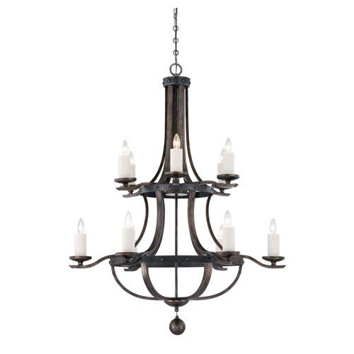 251 First Afton Reclaimed Wood Twelve-Light Chandelier