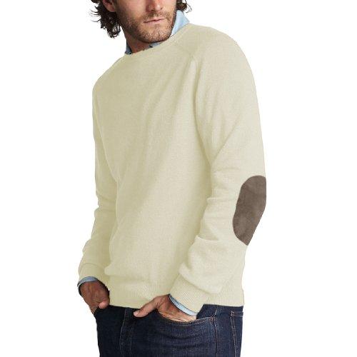 Parisbonbon Men's 100% Cashmere Elbow Pad Sweater Color I...