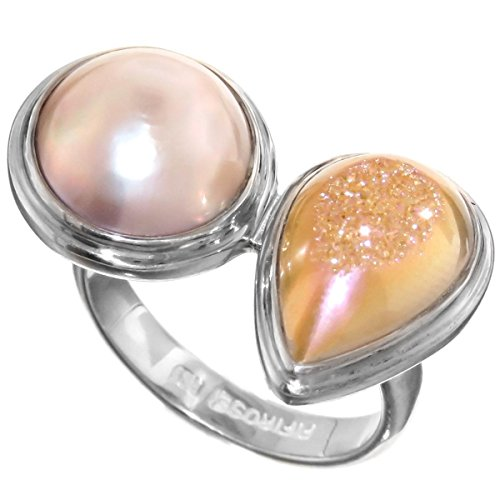 Size 9 Pink Mabe Cultured Pearl Titanium Druzy 925 Sterling Silver Ring Pink Mabe Pearl Ring