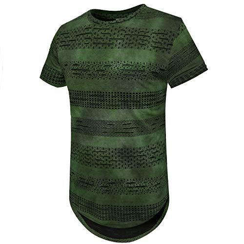 ONTTNO Mens Casual Hipster Hip Hop Sleeveless Hoodie Longline Tank-Top Side Zipper (Medium, A2 Green)