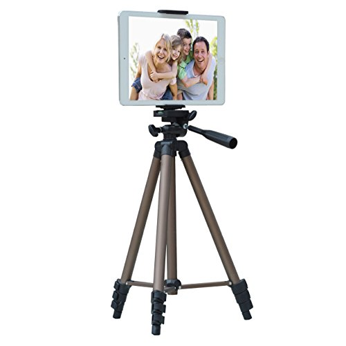 APRO 50-inch Lightweight Aluminum Tripod for Phone Camera Tablet ipad + 2 in 1 Holder Mount Fits Smartphone(Width 2