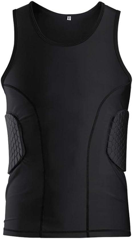Camisa de compresión acolchada para hombres Chaleco de entrenamiento, camiseta sin mangas Equipo de protección Costillas en el pecho Espalda Protegida Pad, para fútbol Fútbol Baloncesto Hockey (XXL): Amazon.es: Deportes y aire