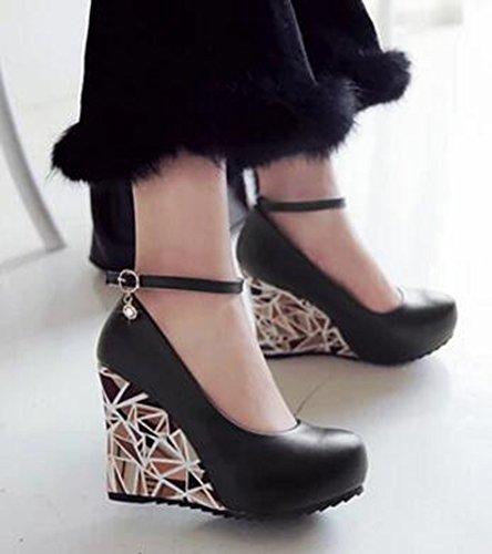 148d13b8cbf3 ... Aisun Femmes Bout Rond Robe Plate-forme Cachée Talons Hauts Compensées  Escarpins Chaussures Avec Bride