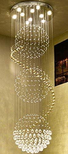 Spiral Round Modern Crystal Chandelier Spiral Chandelier Lighting D27.6″ x H78.8″