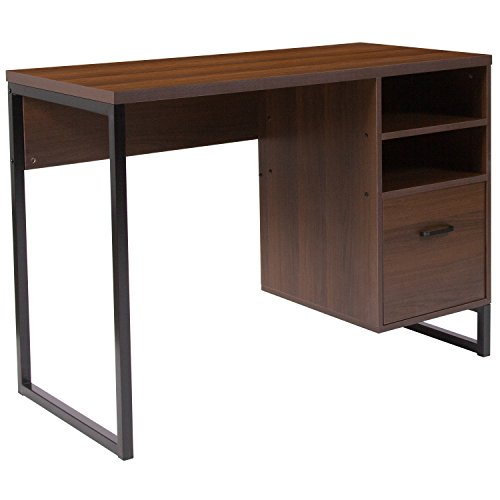 (Flash Furniture Northbrook Rustic Coffee Wood Grain Finish Computer Desk with Black Metal)