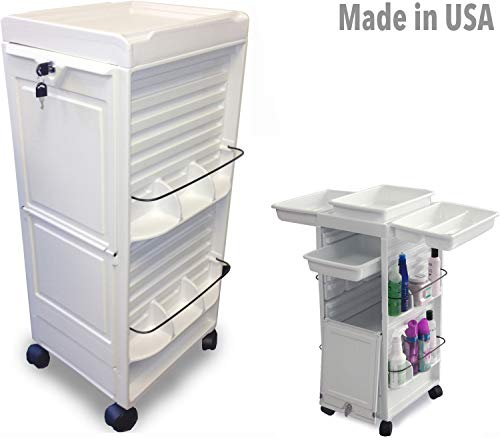 N20E-PM HF Medical Physician Dental White Lockable Roll-About Utility Cart Made in USA