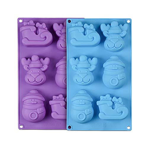 (Christmas Molds Silicone Candy Chocolate Soap Mold 2PCS Shape of Reindeer Sleigh and Snowman)