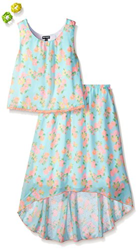 Pogo Club Big Girls Daisy Daydream Skirt Set With Accessory  Surf  Small 7 8