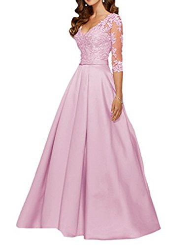 AngelaLove Applique V-Neck 3/4Long Sleeve Mother Of The Bride Dress Beaded Formal Evening Gown