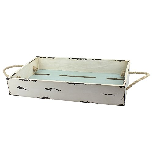 Distressed White Tray (Stonebriar Rectangular Worn White Slotted Wood Serving Tray with Nautical Rope Handles, Decorative Coastal Home Decor Accessories, Centerpiece for Coffee Table, Dining Table, or Any Table Top)