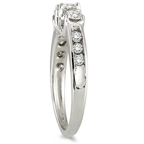 AGS Certified 1 Carat TW Diamond Three Stone Ring in 10K White Gold (K L Color, I2 I3 Clarity)