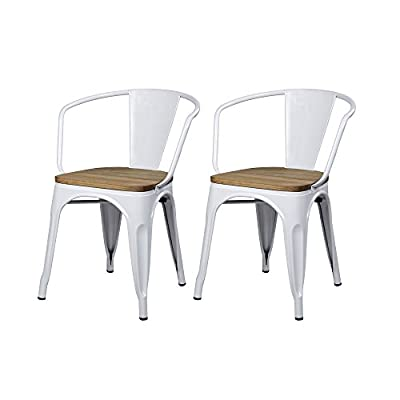 GIA Low Back Metal Dining Chair, 2-Pack, White - Looks Great: With a modern industrial appearance, these chairs will add style to any home. A wooden seat adds a warm decorative touch to these chairs. Easy to Store: Lightweight and easy to stack on top of each other whenever you need the extra space. Easy Care: Made of metal with a scratch resistant finish, these chairs are easy to maintain and clean. Rubber protectors on the feet protects floors. - kitchen-dining-room-furniture, kitchen-dining-room, kitchen-dining-room-chairs - 41BX7eT9waL. SS400  -