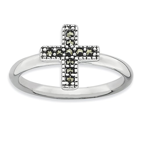- ICE CARATS 925 Sterling Silver Marcasite Cross Religious Band Ring Size 5.00 Stackable Gemstone Fine Jewelry Ideal Gifts For Women Gift Set From Heart