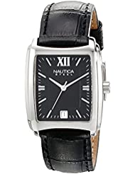 Nautica Mens N07546 Square Stainless Steel Watch with Leather Strap