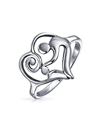 Bling Jewelry Swirling Heart Mother Child Sterling Silver Ring