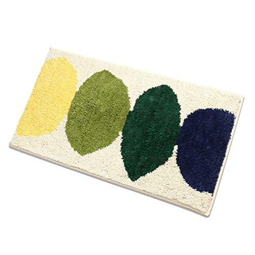 youta Non Slip Bath Rug Absorbent Non-Skid Backing Mat Striped Shaggy Door Mat for Bathroom Kitchen Entry 20x32 Inch Leaves