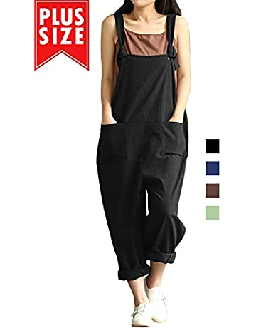 aee3cd8ebcc36 Women Plus Size Overalls Cotton Wide Leg Jumpsuits Vintage Baggy Pants  Casual Rompers