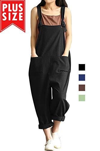 Lncropo Women Large Plus Size Baggy Linen Overalls Casual Wide Leg Pants Sleeveless Rompers Jumpsuit Vintage Haren Overalls (Black, M )