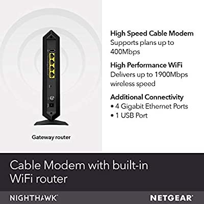 NETGEAR Nighthawk Cable Modem WiFi Router Combo C7000-Compatible with all  Cable Providers including Xfinity by Comcast, Spectrum, Cox | For Cable