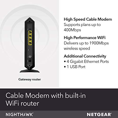 NETGEAR Nighthawk Cable Modem WiFi Router Combo C7000-Compatible with all Cable Providers including Xfinity by Comcast, Spectrum, Cox   For Cable Plans Up to 400 Mbps   AC1900 WiFi speed   DOCSIS 3.0
