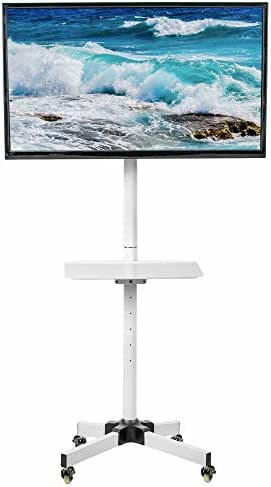 VIVO White Mobile TV Cart for 23 to 55 inch LCD LED Plasma Flat Screen Panel | Trolley Floor Stand with Locking Wheels (STAND-TV04MW)