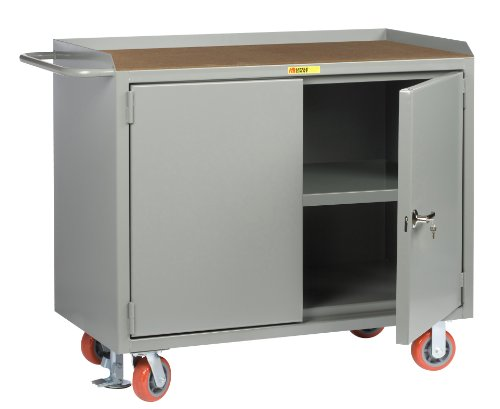 Little Giant MH3-2D-2448-FL Locking Doors Mobile Bench Cabinet with Center Shelf and 1/4