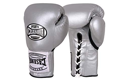 Casanova Professional LACE-UP Boxing Gloves (Silver, 16 oz)