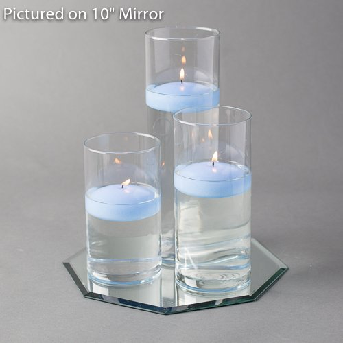 Eastland Octagon Mirror and Cylinder Vases Centerpiece with Richland Floating Candles 3''. 48 Piece (12'' Mirror, Light Blue)