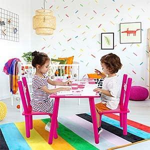 Cocoarm Set Tavolo e Sedia con Fiori in Legno per Bambini Bambini Che Studiano Pittura a Casa Scuola