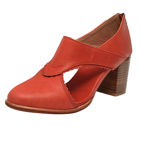 ✔ Hypothesis_X ☎ Women's Casual Slip On Loafer Pointed Toe Cut Out Slip On Office Casual Square Heels Zipper Sandals Orange ()