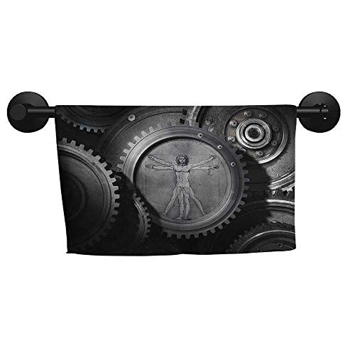 """alisoso Industrial,Wash Towels Wheels of System with Medieval Old Human Body Animation Device Gears of Whole Theme Eco-Friendly W 28"""" x L 12"""""""