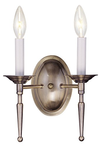Antique Brass 2 Light 120 Watt 11In. Wide Wallchiere Sconce From The Williamsburg Collection