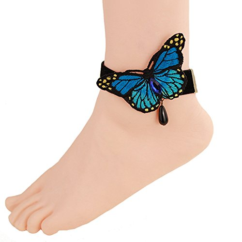 Wowlife Dream Blue Butterfly Ankle Ring Foot Sandal Beach Wedding Ankle Bracelet Women Girls Anklet - Butterfly Bracelet Ring