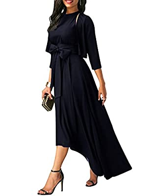 VIUVIU Women Summer 3/4 Sleeve Vintage Halter Asymmetrical Elegant Cocktail Maxi Dresses with Belt
