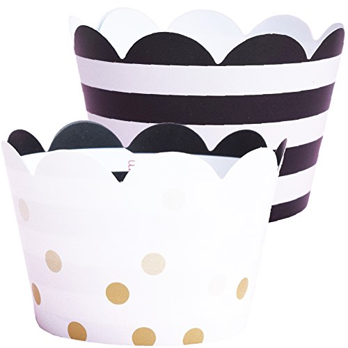 Wedding Cupcake Wrappers - 36 Black and White Striped Cup Cake Holder, Bachelorette Party Supplies, Champagne Gold Polka Dot Anniversary, Great Gatsby Theme Party Decoration, 50th Birthday for Adult ()