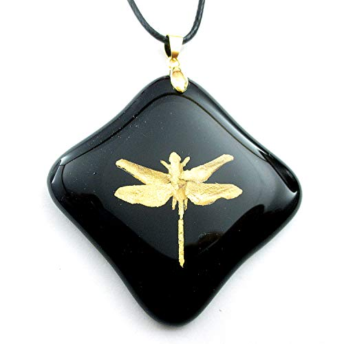 Gold Dust Dragonfly Encased in Glass Black Glass Pendant Charm Necklace 18KGP Bail Women's Jewelry